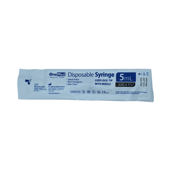 "OneMed Disposable Syringe 5ml - 22G x 1 1/2"""