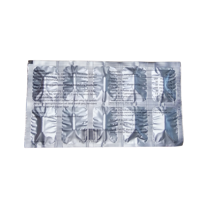 Sangobion - Suplemen Kesehatan - Zat Besi, Vitamin, dan Mineral - 1 Strip - 10 Kapsul
